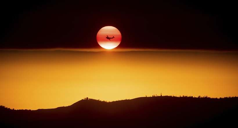 Фото дня: пролетая на фоне солнца